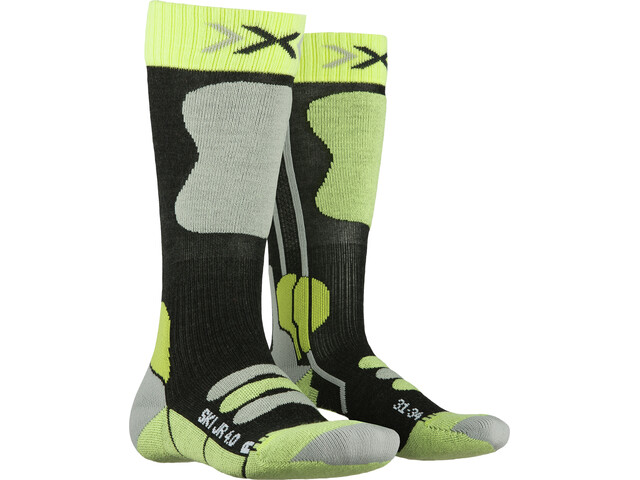 X-Socks Ski 4.0 Calcetines Niños, anthracite melange/green lime